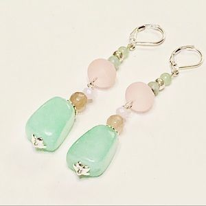 Green Aventurine & Gray Agate Lever-back Earrings